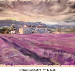 Lavender field in Provence. Watercolor painting