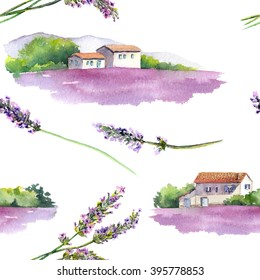 Lavender field with rural provencal house in Provence, France. Vintage seamless pattern.Watercolor