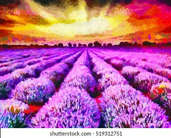 Lavender fields during sunrise - oil painting