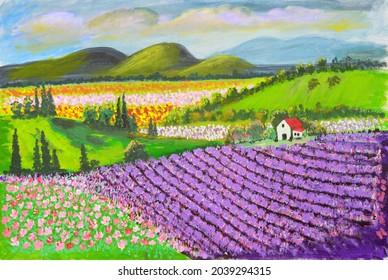 Champs de lavande sur une colline roulante avec des champs de fleurs et des montagnes sur fond