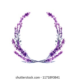 Lavender flower round twig watercolor illustration. Circle lavender frame. Decoration floral design. Love and marriage. Valentine's day. Lavender twig wedding symbol. Isolated raster