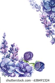 Lavender flowers and anemones, flower frame in a watercolor style isolated, greeting card