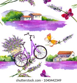 Lavender flowers, butterflies, bicycle, lavender fields with rural provencal farm houses in Provence, France. Watercolor