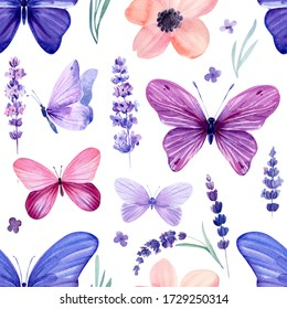 lavender flowers and butterflies, watercolor illustration, seamless pattern, floral print