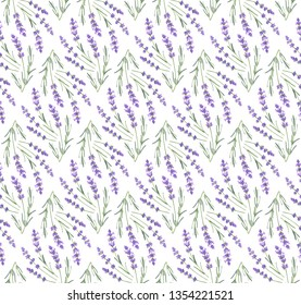 Lavender Flowers Pencil Drawing Seamless Pattern