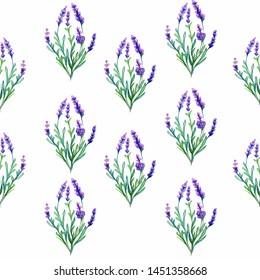 Lavender flowers watercolor art illustration