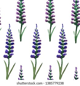 lavender seamless pattern on white background. watercolor illustration for decor, textiles and design.