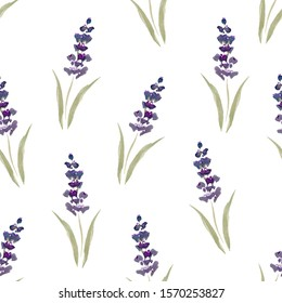 Lavender. Seamless pattern. Watercolor illustration.