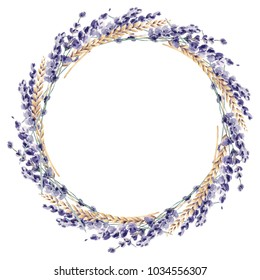 Lavender watercolor hand painted illustration floral flower provence france leaves plant wreath frame border cereal wheat