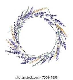 Lavender watercolor hand painted wreath wheat cereal provence