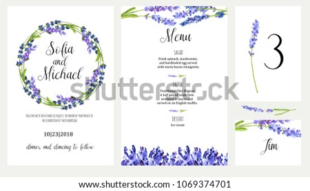 lavender watercolor illustration wedding invitation card stock