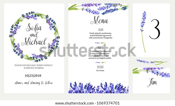 Lavender Watercolor Illustration Wedding Invitation Card