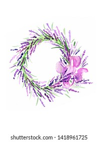 Lavender Wreath with Pink decorative Bow
