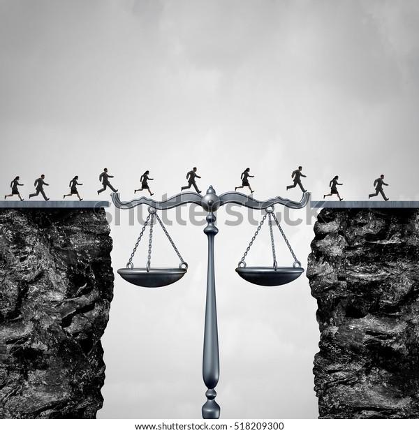 Das Konzept der Rechtsanwälte und Rechtsanwälte als Gruppe von Rechtsanwälten oder Geschäftsleuten, die Klippen überqueren, wurde durch eine Justizskala als Brücke zu Rechtsbeistand mit 3D-Illustrationen unterstützt.