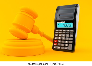 Law background with calculator in orange color. 3d illustration