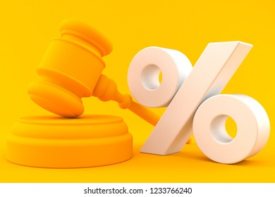 Law background with percent symbol in orange color. 3d illustration