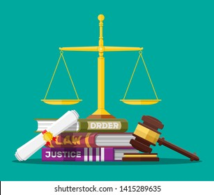 Law code books, justice scales and judge gavel. Law judgment punishment order justice. Wooden hammer. Legal and legislation authority. illustration in flat style