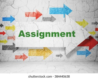 Law concept: arrow with Assignment on grunge wall background