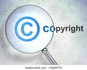 Law concept: magnifying optical glass with Copyright icon and Copyright word on digital background, 3d render