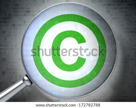 Law concept: magnifying optical glass with Copyright icon on digital background, 3d render