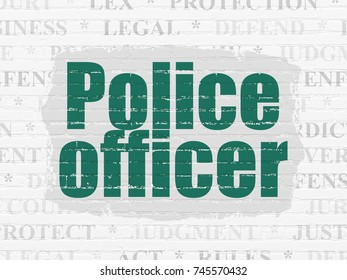 Law concept: Painted green text Police Officer on White Brick wall background with  Tag Cloud
