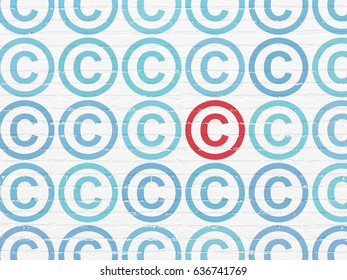 Law concept: rows of Painted blue copyright icons around red copyright icon on White Brick wall background