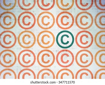Law concept: rows of Painted orange copyright icons around green copyright icon on Digital Paper background
