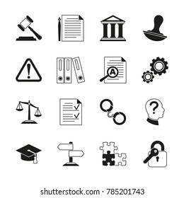 Law consulting, legal compliance icons. Policy and regulations pictograms illustration