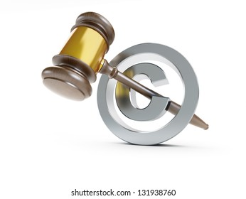 law copyright sign 3d Illustrations on a white background