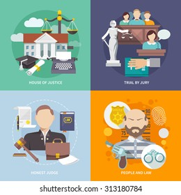 Law design concept with house of justice trial by jury honest judge icon flat set isolated  illustration