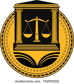 Law firm justice scale. No justice without wisdom