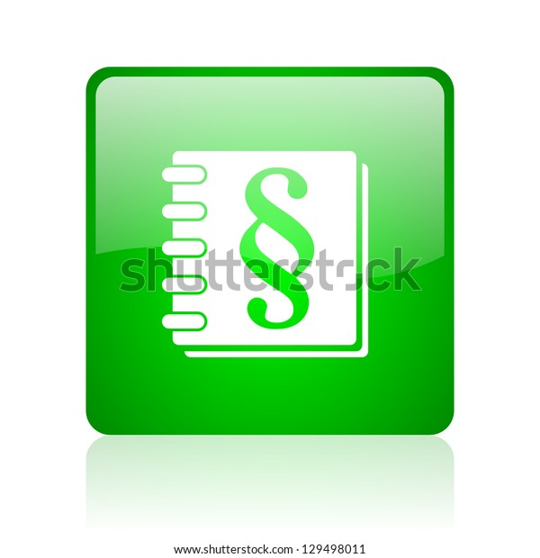 law green square web icon on white background