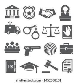Law icons set on white background