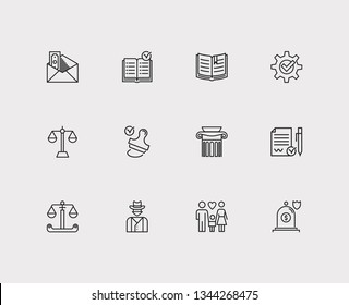 Law icons set. Stamp and law icons with insurance, cowboy and scale. Set of decision for web app logo UI design.