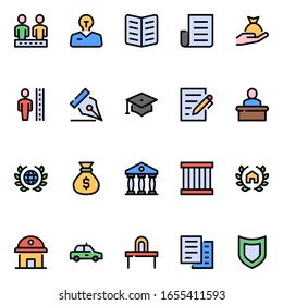 Law & Justice - Filled color outline icons.