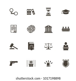 Law Justice icons. Flat Simple Icon - Gray Illustration on White Background.