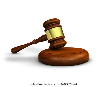 Law, justice and judge concept with a 3d rendering of a gavel on white background.