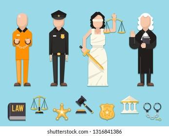 Law justice Themis Femida scales sword police judge prisoner characters icons symbols set flat  icon illustration