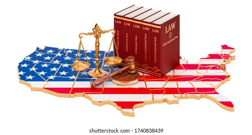 Law and justice in the United States concept, 3D rendering isolated on white background