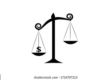 Law scales icon That shows that money is more valuable than anything else.