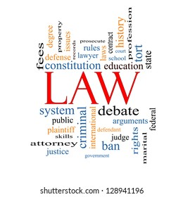 Law Word Cloud Concept with great terms such as defense, attorney, school, court and more.