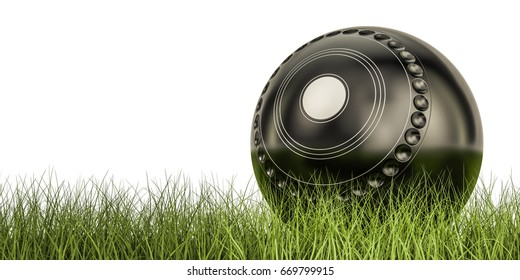 Lawn bowl ball concept on the grass, 3D rendering isolated on white background