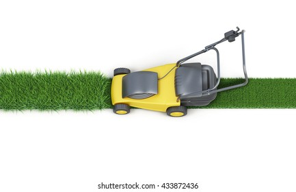 Lawn mower cutting grass isolated on white background. Top view. Electric lawn mower. 3d render image