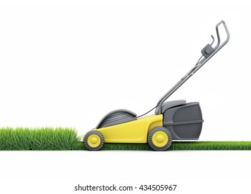 Lawn mower cutting grass isolated on white background. Side view. Electric lawn mower. 3d rendering