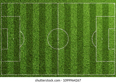 Lawn soccer field with markings, lines and stripes from above as a background (3D Rendering)