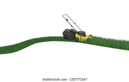 Lawnmower cutting grass isolated on white background, 3d illustration