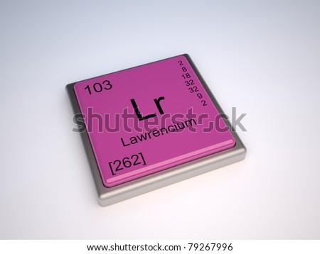 Lawrencium Chemical Element Periodic Table Symbol Stock Illustration