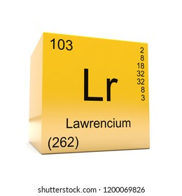Lawrencium chemical element symbol from the periodic table displayed on glossy yellow cube 3D render