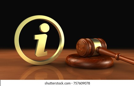 Laws and legal system information concept with info symbol and icon and a gavel 3D illustration.