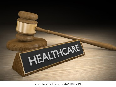 Laws and legislation for single payer or national healthcare, 3D rendering